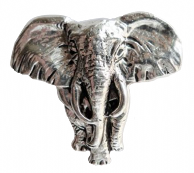 B70 - Elephant Front View Pewter Pin Badge
